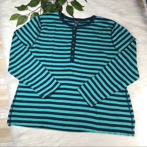 Chaps Turquoise & Navy Blue Striped 3/4 Sleeve 2X